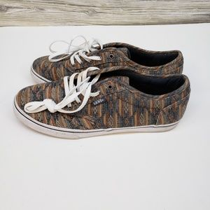Van's Tribal Aztec Brown Navy Print Canvas Shoes